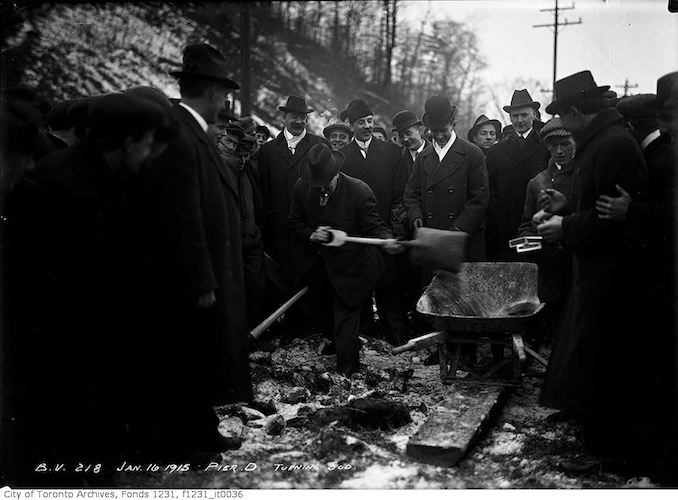 1915 - January 16 - Turning sod, Pier D, Mayor Church, (Bloor Viaduct Construction)