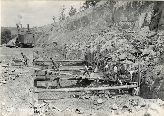 1915 - July 20 - Bloor Street Viaduct under construction, laying foundation for Pier A