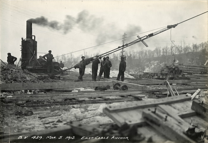 1915 - March 5 - Bloor Street Viaduct under construction, showing East Cable Anchor
