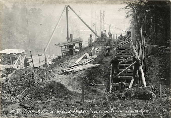 1915 - September 2 - Bloor Street Viaduct under construction, showing west approach
