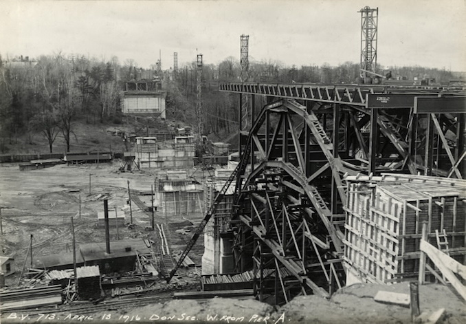 1916 - Bloor Street Viaduct under construction, west from Pier A