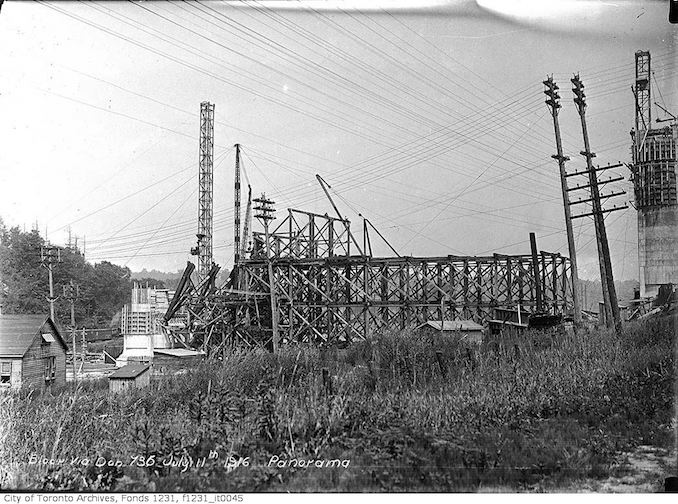 1916 - July 11 - Bloor Viaduct construction, Don Section