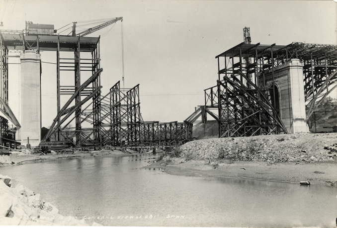 1917 - April 12 - Bloor Street Viaduct under construction, General view of 281' span