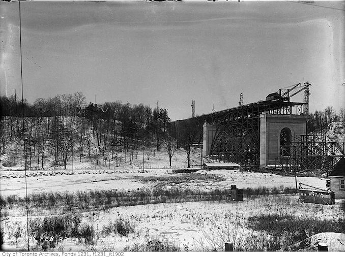 1917 - February 22 - Bloor Viaduct construction looking west, panorama from C.P.R.