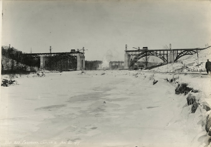1917 - January 26 - Bloor Street Viaduct under construction, panorama looking south