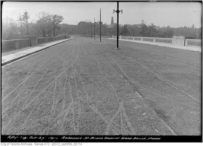1917 - October 27 - Rosedale end of Bloor Viaduct - wood block parts