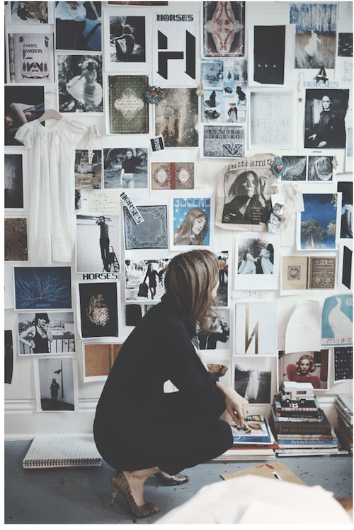 In front of the Horses moodboard, photo taken by Arden Wray.