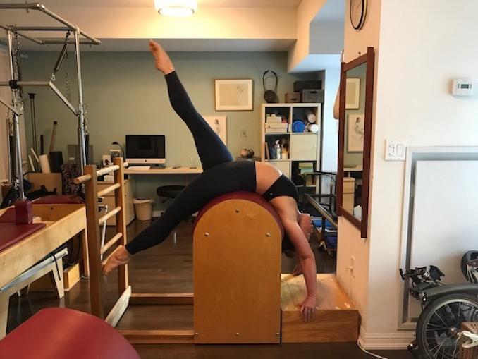 Julia doing body work training at Christine Wright