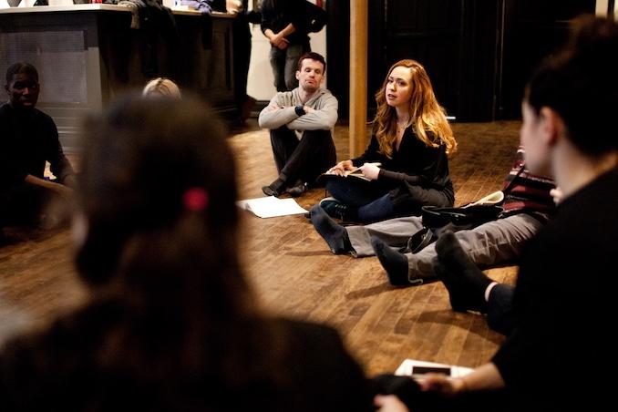 Julia gives post rehearsal notes