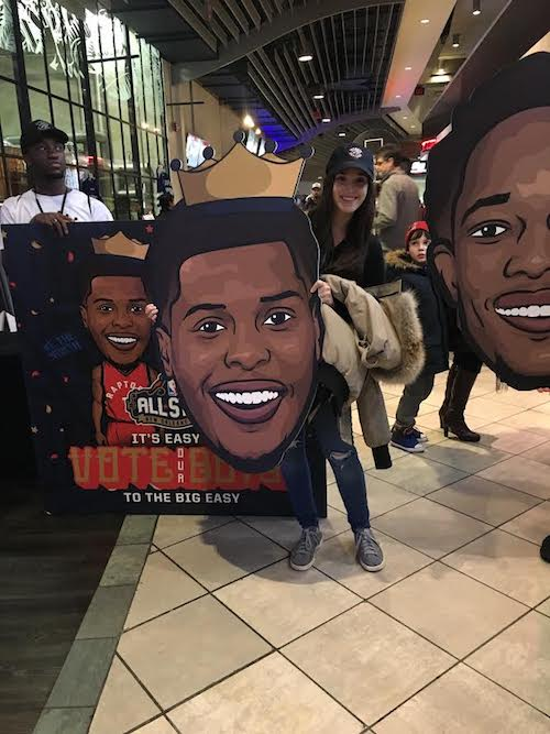 Last year at the Raptors game getting to see some of my designs in action.