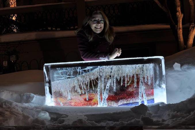 "My Froid'Art piece, ""Sudbury Birches"" -art frozen into 300 pound blocks of ice"