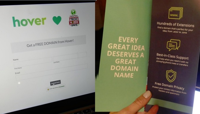Hover domain registry at HackerNest 29 jan 2018 - Photo by RobC