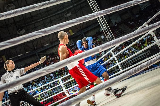 In addition to running a charitable organization and owning boxing gyms in Canada, Jennifer Huggins is an AIBA International Referee and Judge. Many of her assignments are to all male competitions, including the World Series of Boxing. [Photo Credit: Karim De La Plaine | Photo taken during the 2016 Men's Elite Continental Olympic Qualifiers in Caracas, Venezuela]