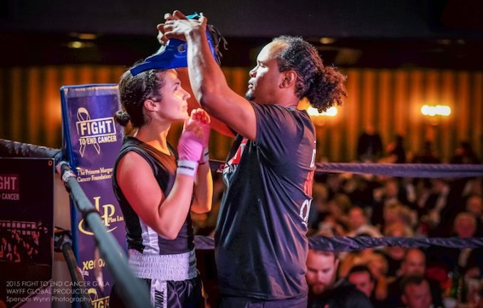Paige Cunningham with her coach, Virgil Barrow before her fight in the 2015 Fight To End Cancer Gala. [Photo Courtesy of Spencer Wynn Photography]