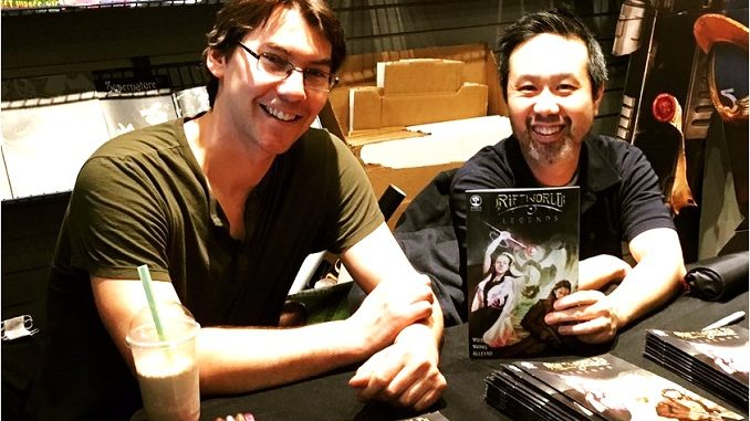 Jonathan Williams and Daniel Wong sign the first issue of Riftworld Legends at Silver Snail comic shop, 28 Feb 2018