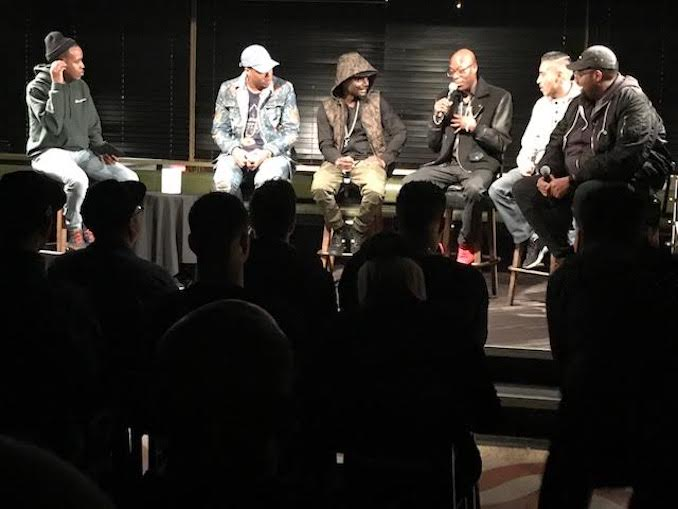 "Choclair sitting on a panel talking about the history making track ""Northern Touch"""