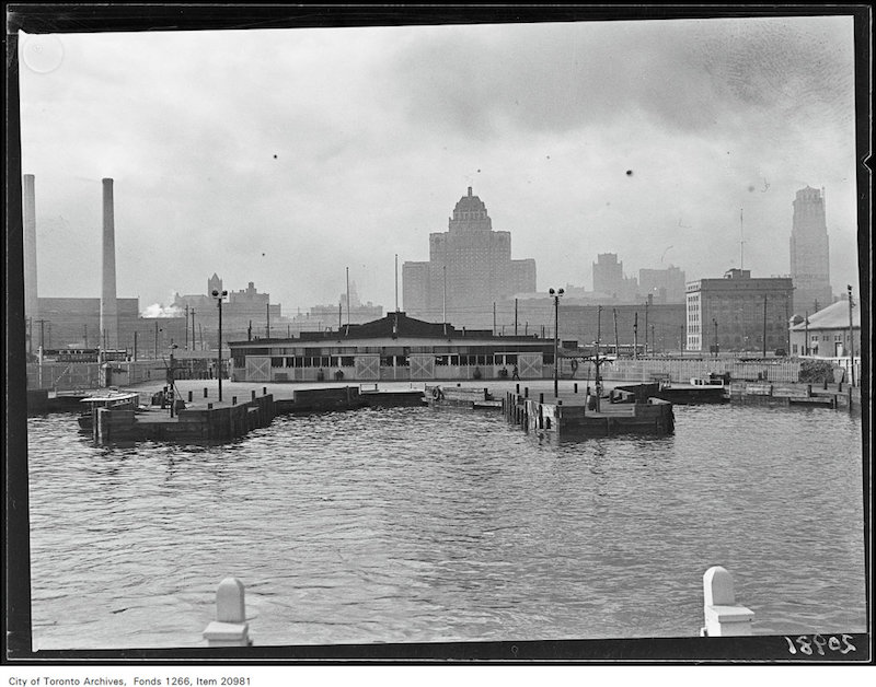 1930 - Toronto waterfront, ferry docks from water