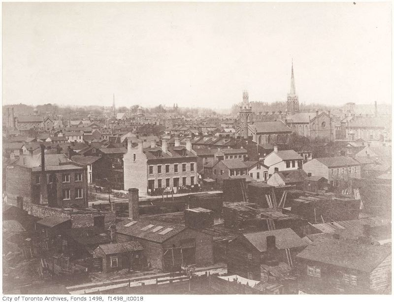 Toronto from the top of the Rossin House Hotel, looking north-east 1856 Toronto