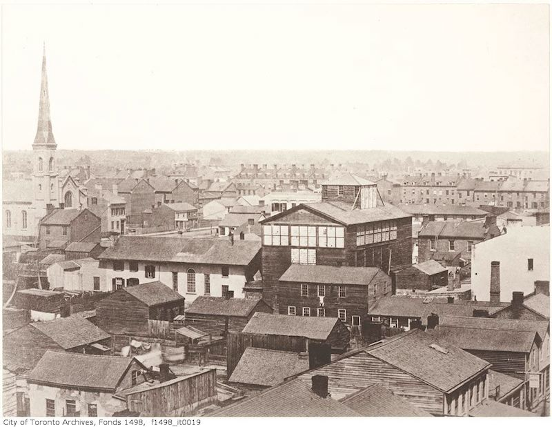 Toronto from the top of the Rossin House Hotel, looking northeast