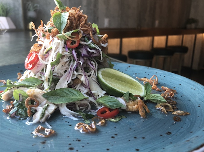 Founder Bar - Deb's Chicken Salad - Pho poached cold chicken, fish sauce, cabbage, jalapeno, cilantro, crispy skins, lime