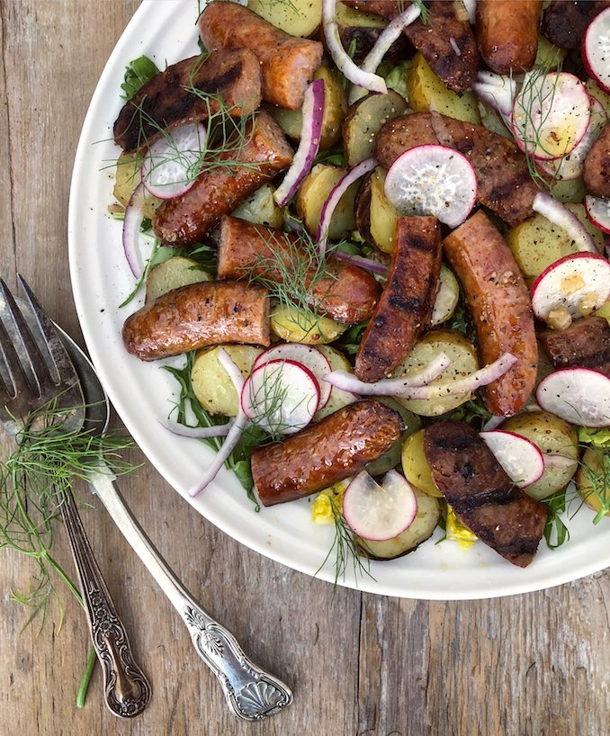 Grilled Sausage and Potato Salad with Sauerkraut Recipe
