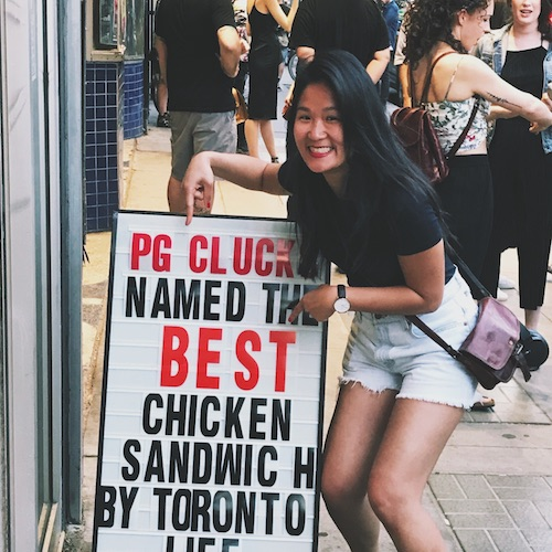Getting real excited to eat at PG Cluck's – best fried chicken ever! The sign doesn't lie.