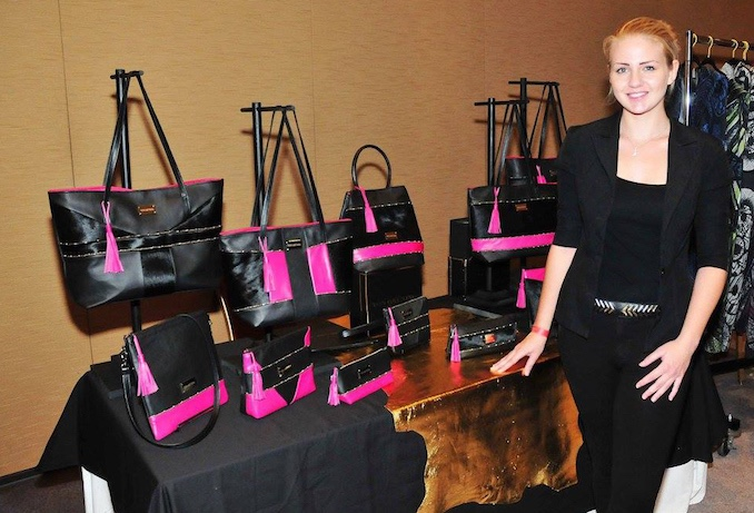 Diana Von Gruning displaying her spring:summer 2018 line of leather accessories at the Toronto Fashion Incubator Press and Buyers Trade Show 2017.