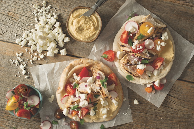 Recipe for Grilled Chicken and Rainbow Tomato Pitas with Goat Cheese
