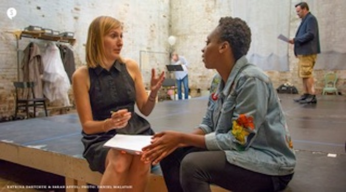 In rehearsal for Orlando with actor Sarah Afful, our Orlando. Sarah is an incredible collaborator and a leader in terms of approaching the piece with a 2018 sensibility of truth and identity. Photo by Daniel Malavasi.