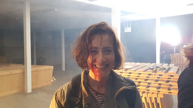 Kaitlyn Riordan - On set after performing a death scene in the film Nightshooters, 2017