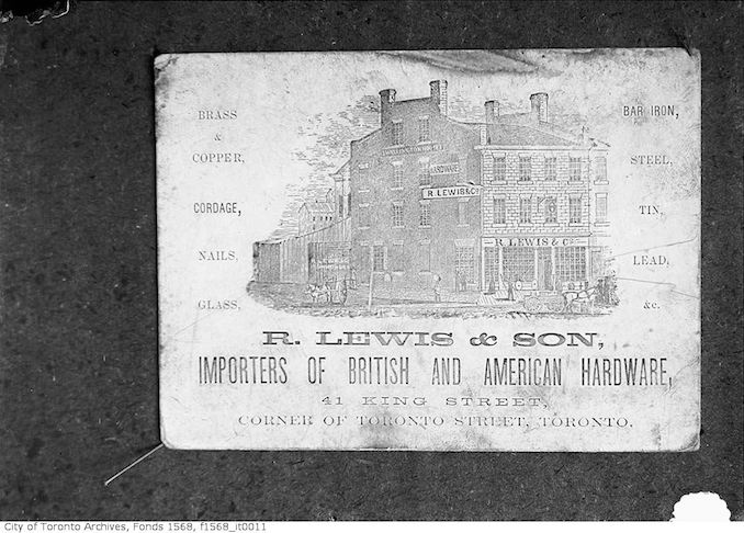 1900 - R. Lewis & Sons, inporters of Brirish and American hardware - 41 King Street, corner of Toronto Street, Toronto