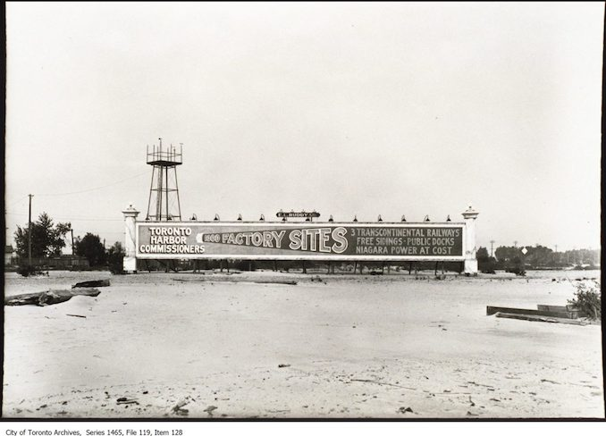 1910 - 1930? - Toronto Harbour Commission billboard advertising Port Lands sites