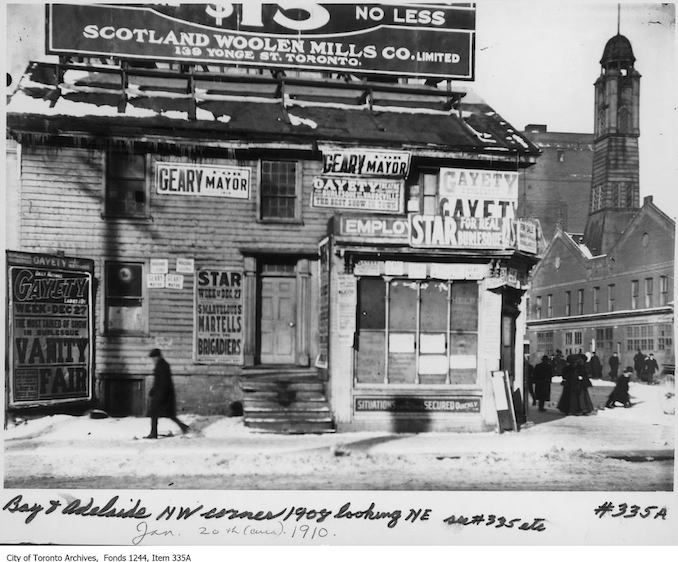 1910 - Bay Street and Adelaide Street West, northwest corner, looking northeast