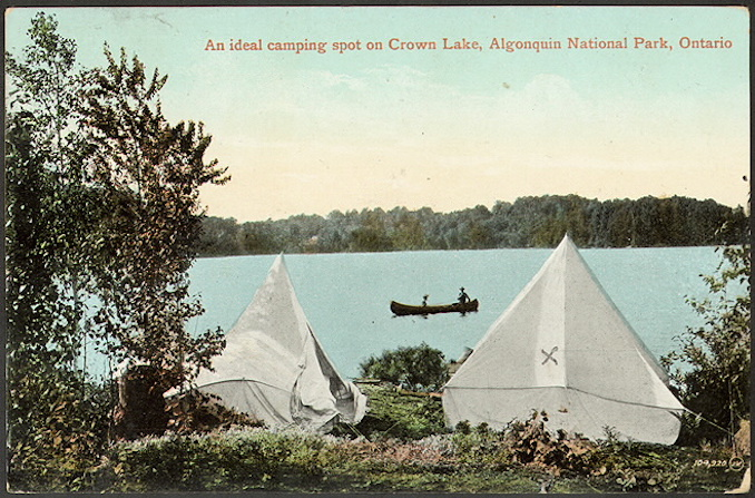 1910 - Valentine & Sons Publishing Co. Ltd - An ideal camping spot on Crown Lake, Algonquin National Park, Ontario