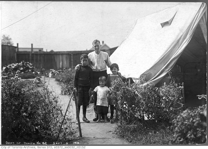 Vintage Ontario - 1912 - Tent exterior - family group, David Cummings