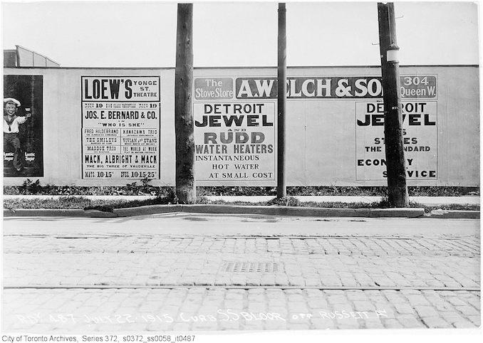 1915 - South side Bloor St. opposite Russett Ave - advertisement hoardings