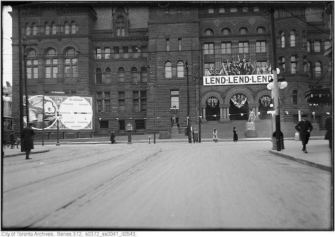 1918 - City Hall - view from Bay Street just south of Queen Street - showing Victory Bond advertising - Original Negative by D.P.W.