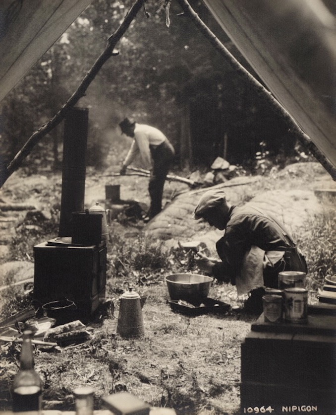 Vintage Ontario - 1925 - H. Armstrong Roberts - Nipigon - men cooking at camp