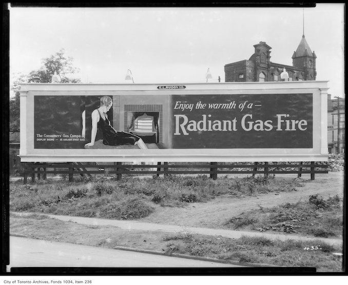 1926 - E.L. Ruddy outdoor sign advertising Radiant Gas Fire