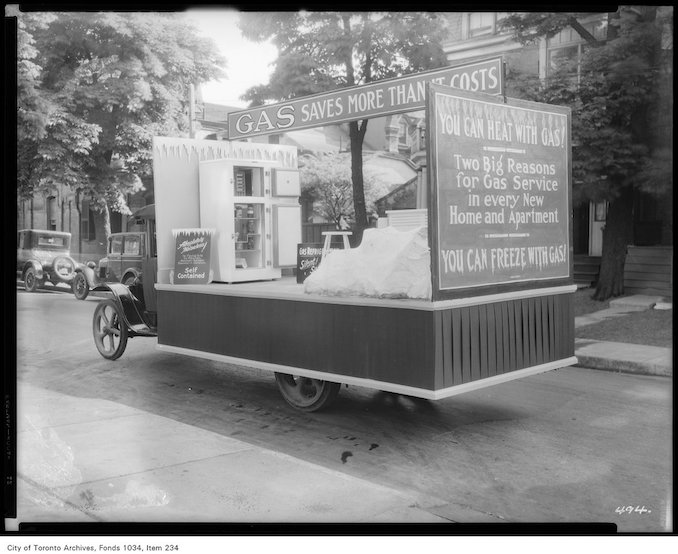 1926 - Truck mounted with commercial gas refrigerator and promotion signs