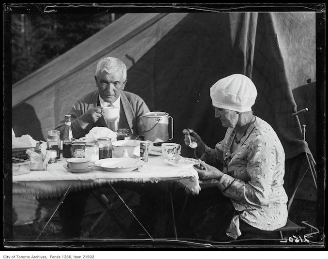 1930 - Aug 8 - Holiday trip, Grande-Vallee, Mr. and Mrs. John Boyd at dinner table