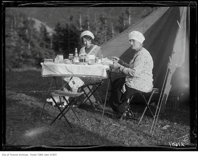 1930 - aug 8 - Holiday trip, Grande-Vallee, Marjorie Laing and Mrs. John Boyd at dinner table