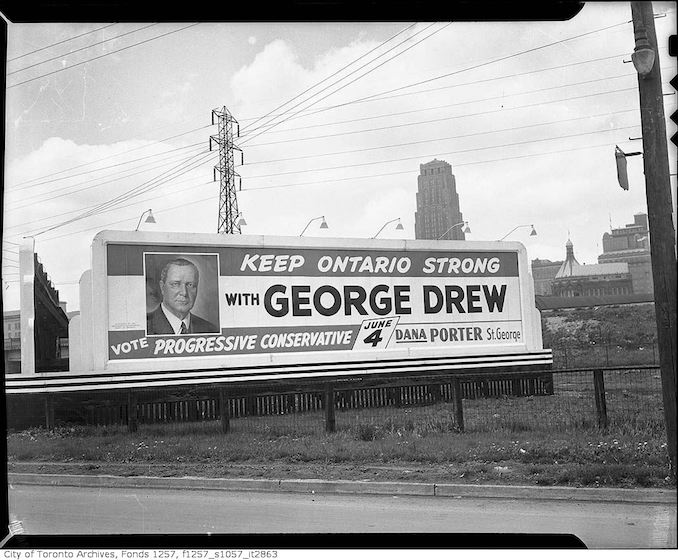 1945? - Election billboard for Progressive Conservative candidates George Drew and Dana Porter