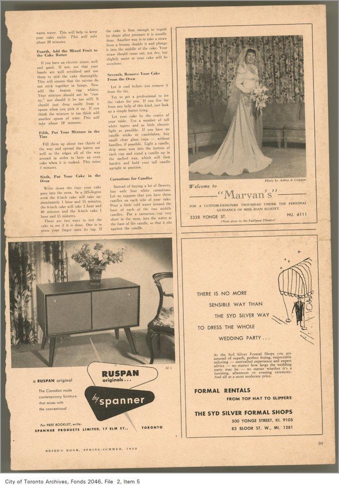1952 - Advertisement for Ruspan Original buffet, Bride's Book