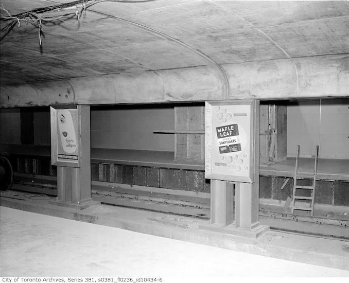 1953 - Subway car and advertising posters