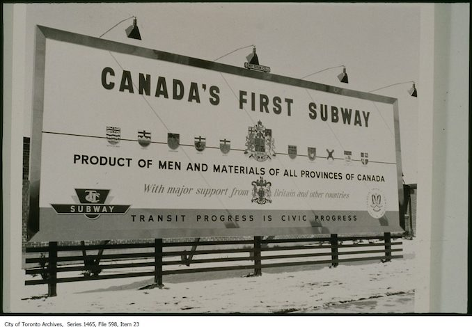 1954 - Sign advertising Canada's first subway