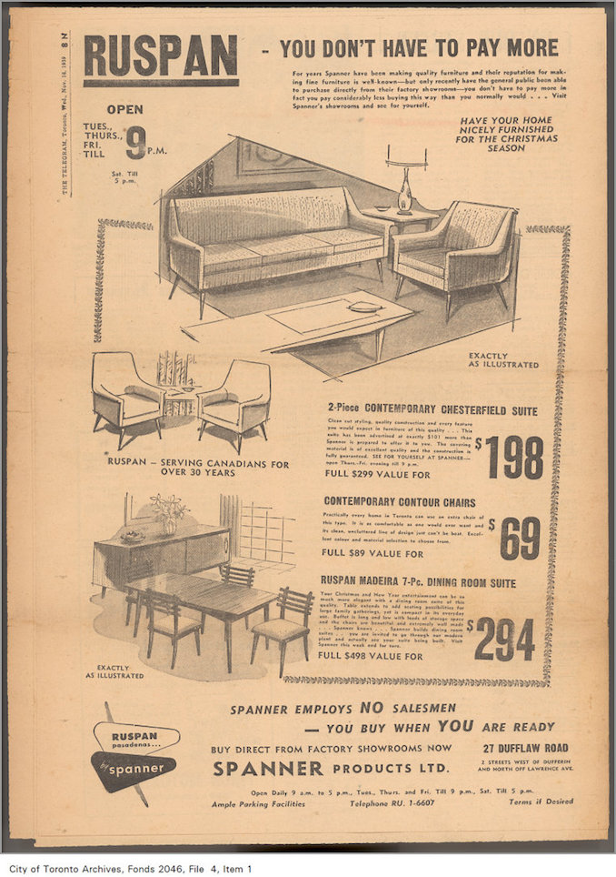 1959 - Ruspan furniture advertisement, Toronto Telegram