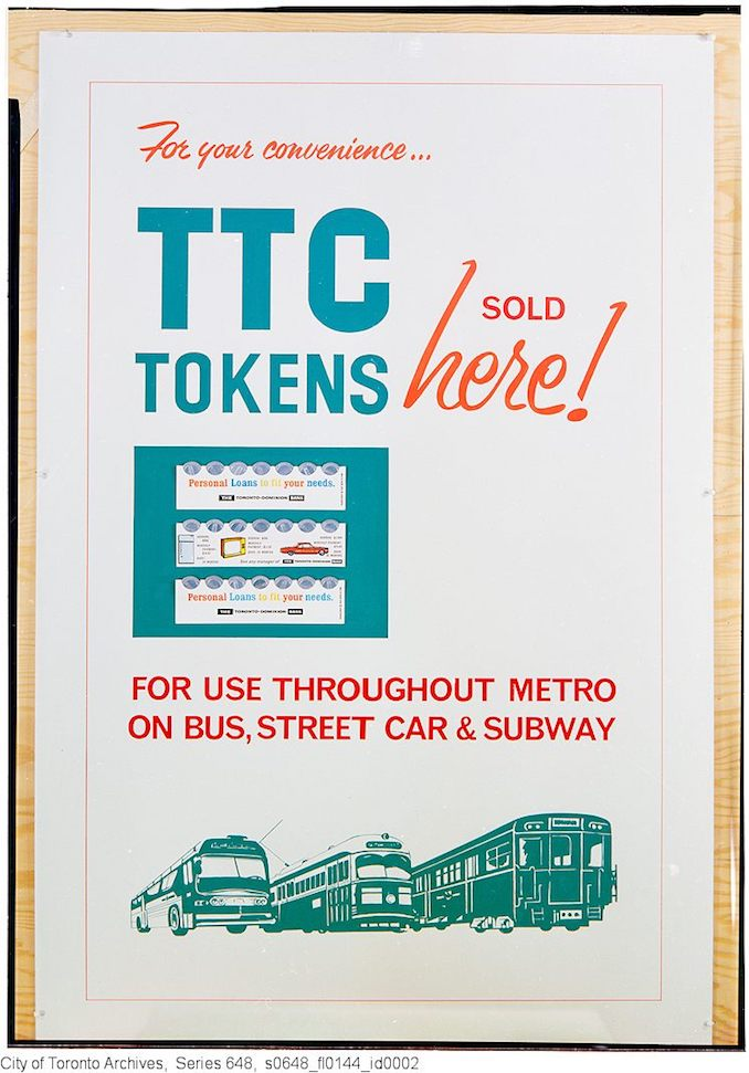 1963 - For your convenience - TTC tokens sold here