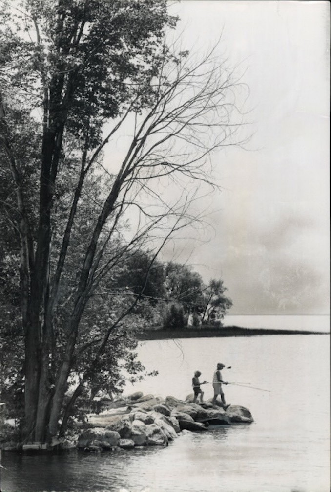 1966 - James NOrman - Simcoe-Couchiching. A visit to Lake Siimcoe is always worthwhile and there's so much to do. Take fishing off the rocks for instance