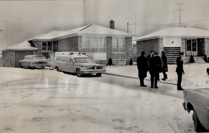1967 - Boris Spremo - Ambulance and police are shown outside the Sherman Court bungalow where Salvatori Sammy Triumbari; 45; was gunned to death at dawn today.